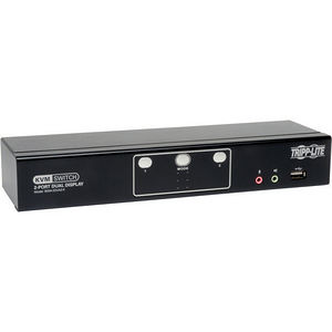 Tripp Lite B004-2DUA2-K 2-Port Dual Monitor DVI KVM Switch w/ Audio & USB 2.0 Hub, Cables included