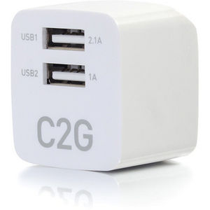 C2G 22322 2-Port USB Wall Charger - AC to USB Adapter, 5V 2.1A Output