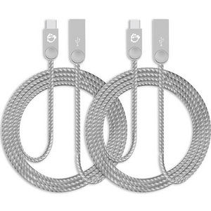 SIIG CB-US0M11-S1 Zinc Alloy USB-C to USB-A Charging & Sync Braided Cable - 3.3ft, 2-Pack