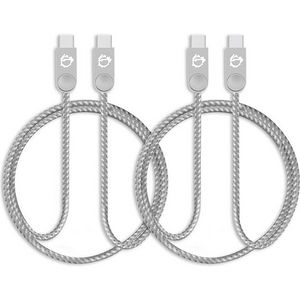 SIIG CB-US0P11-S1 Zinc Alloy USB-C to USB-C Charging & Sync Braided Cable - 1.65ft, 2-Pack