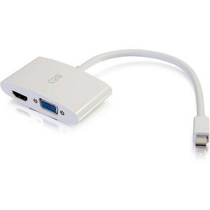 C2G 28272 8in Mini DisplayPort to HDMI or VGA Adapter Converter - White