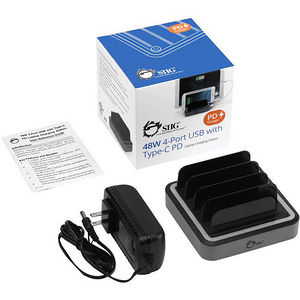SIIG AC-PW1E12-S1 48W 4-Port USB with Type-C PD Laptop Charging Station