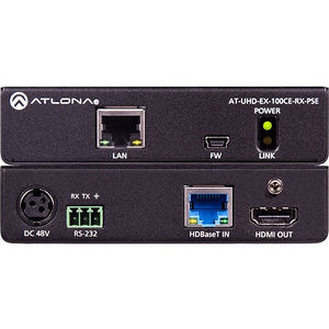 Atlona AT-UHD-EX-100CE-RX-PSE 4K/UHD 100M HDBaseT Receiver (Power Source)