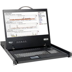 """Tripp Lite B040-008-19 8-Port Rack Console VGA KVM Switch w/ 19"""" LCD 1U TAA"""