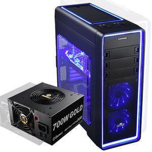 Enermax ECA3380AS-BL(W/PSU) Ostrog ADV ECA3380AS-BL Computer Case with Blue LED