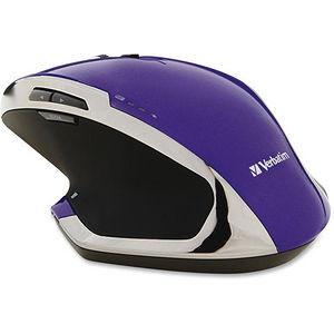 Verbatim 99020 Wireless Desktop 8-Button Deluxe Blue LED Mouse - Purple